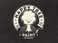 Happy Tree Paint Vintage Fantasy Logo