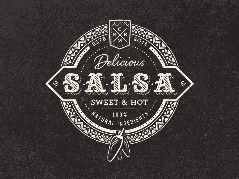 Vintage Salsa Logo logo food salsa vintage chili hot badge sweet jar