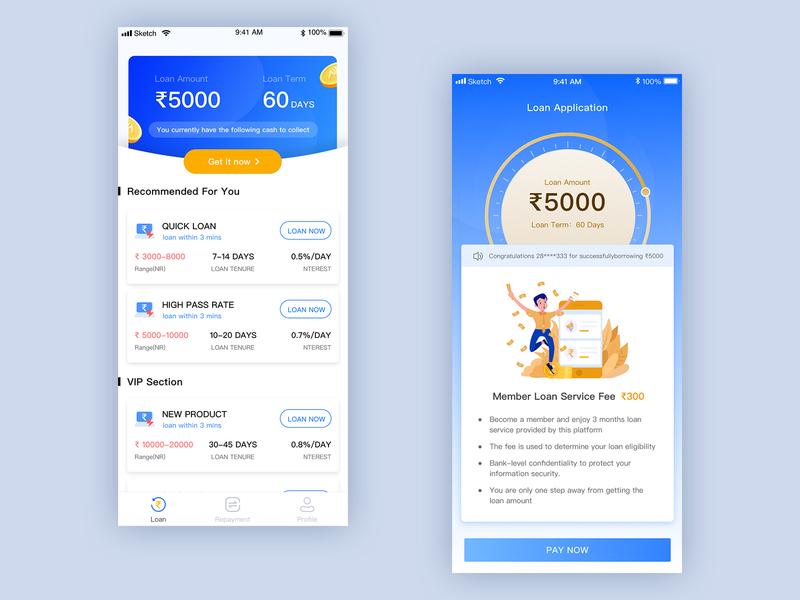 cashpocket app vip application amount home recommend uesr pocket cash rupee coin money blue ux design illustration app 设计 ui loan financial