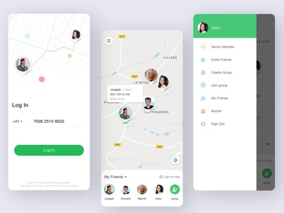 GP_star real time track invite buzzer green protection family friend map home login location design logo application design illustration app ui