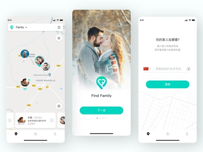 Find Family 2.0 upgrade location green driver map family lover typography 设计 illustration app design ui