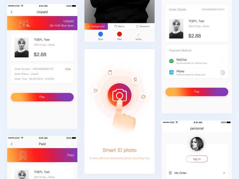 ID photo APP application software younger beauty pay paid take a photo personal gradient document photo card app 插图 ux illustration application design design ui