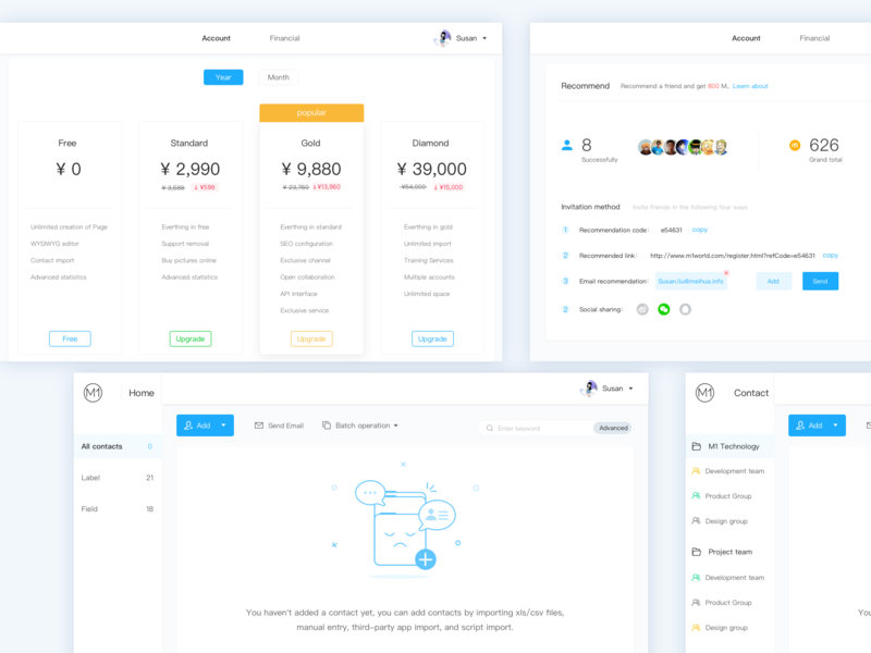 Some pages of the product blue dashboad web typography recommend contact tag home financial account price branding backstage app 设计 illustration application design design ui