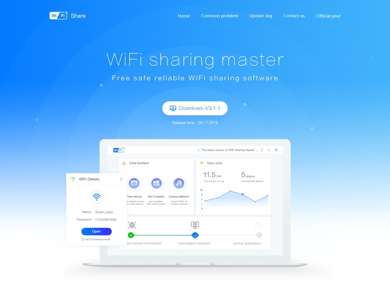 WiFi sharing master-landing page uplate official website home gradient system features optimization dashboard date technology blue landing page share wifi monitor backstage ux web application design ui