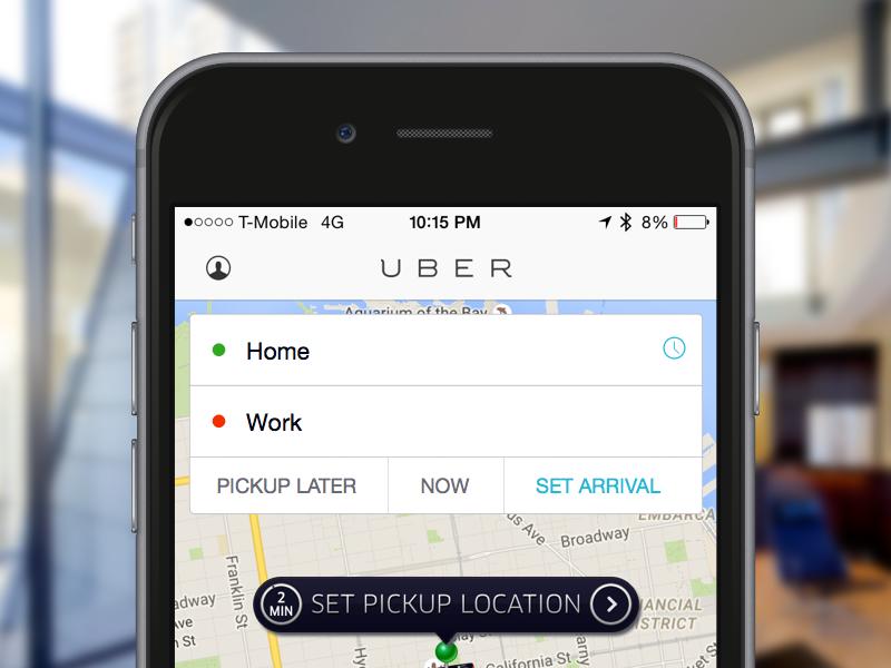 Uber Set Arrival uber iphone app ios