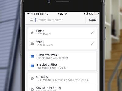 Uber Calendar Integration app ios calendar uber