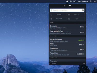 Balance is progressing menubar mac app