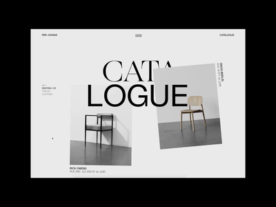 PER-SONA — Catalogue Page No. 1 hover chair minimal grid website typography developer motion catalogue web layout uiux ux ui furniture scroll transition webgl