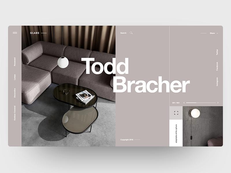 GLARE web design interior furniture clean design interface landing ux ui grid