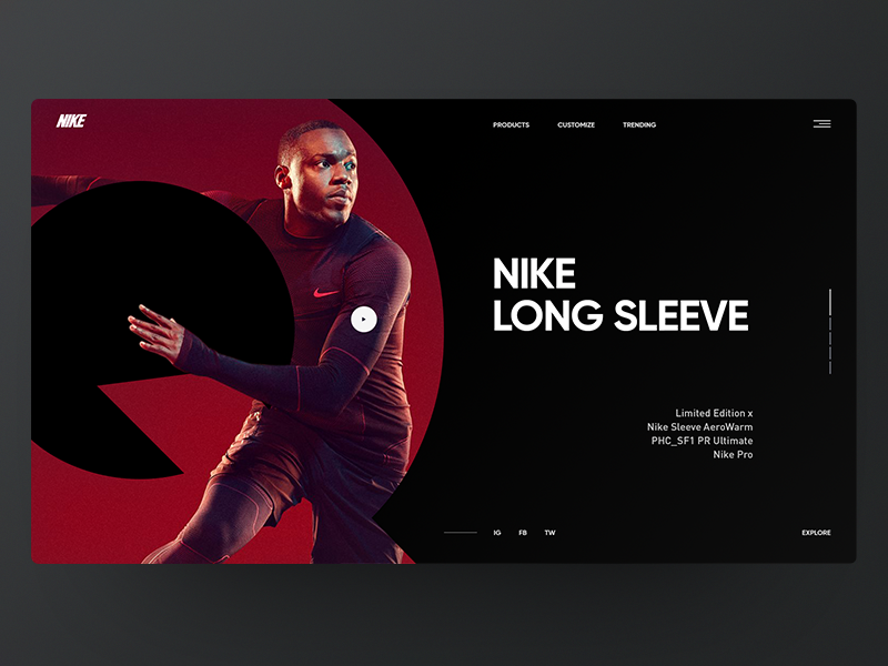 NIKE web design layout clean web ux ui minimal landing interface designer concept
