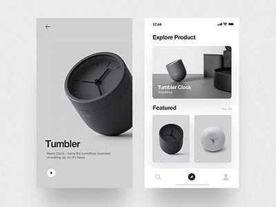 Tumbler Product - App user interface minimal ios layout design concept cards ux ui app mobile