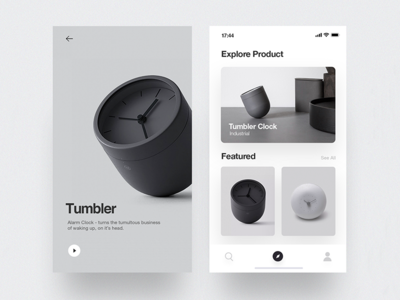 Tumbler Product - App user interface minimal ios layout design concept cards ux ui app mobile