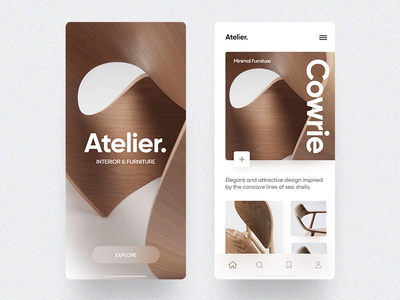 Atelier - Furniture showcase app user interface furniture mobile minimal layout ios design ux ui concept cards app