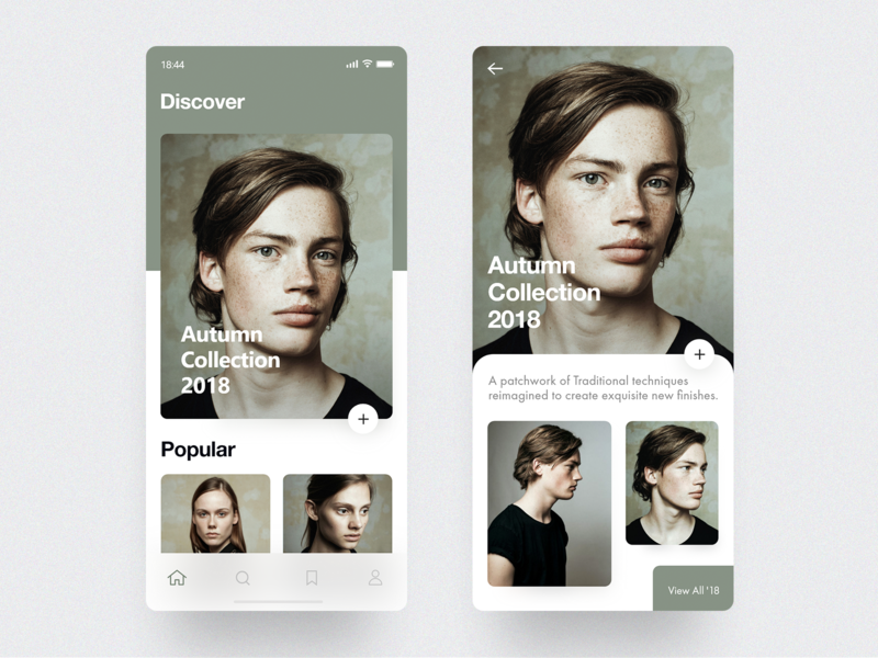Fashion App Concept cards design concept layout minimal ios mobile fashion app interface ux ui