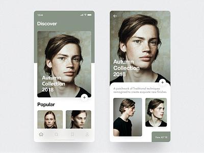 Fashion App Concept cards design concept layout minimal ios mobile fashion app interface ux ui