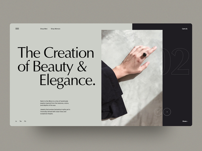 The Creation user interface homepage ux fashion typography interface layout web design clean web minimal landing concept ui