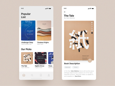 Book Reading App read reading book interace cards concept clean layout minimal ios app ux ui