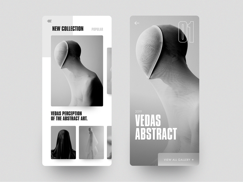 Vedas - App mobile clean cards photograhy art interface ios app minimal layout concept ux ui