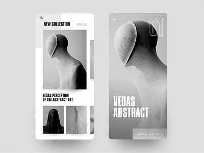 Vedas - App mobile clean cards photograhy art interface ios app minimal layout concept ux ui