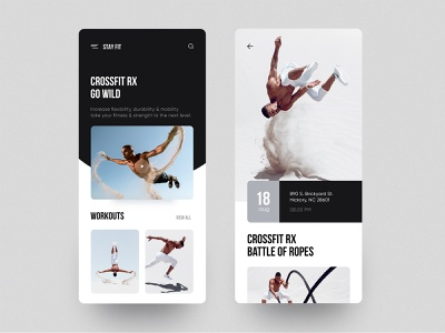 Stay Fit - App user interface minimal concept layout cards landing workout gym fitness ios app ux ui