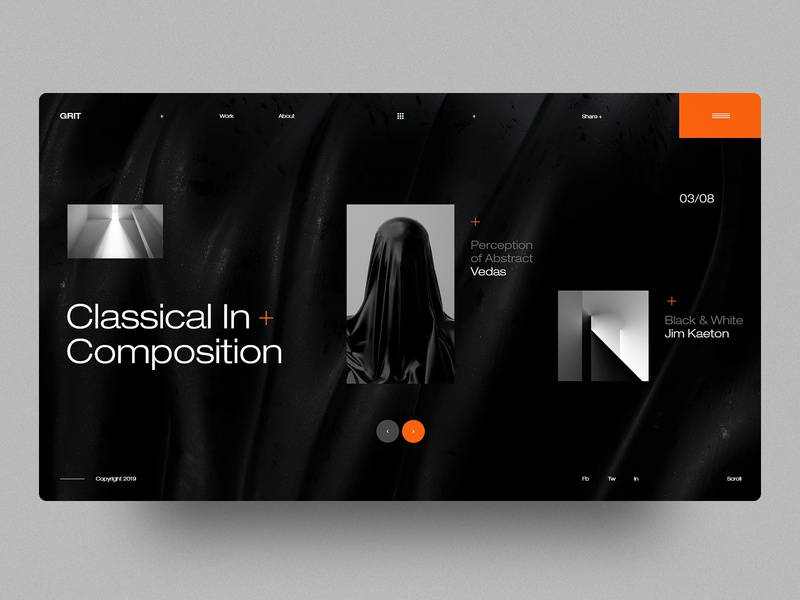 GRIT abstract art landing web black and white ux ui interface concept layout