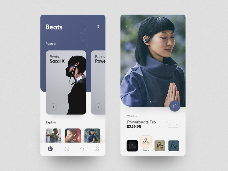 Beats App shopping headphone shop product image concept layout cards ux ui ios app beats