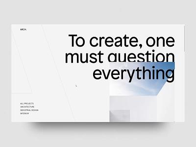 Arch Studio - Architecture Website interaction animation ux layout minimal web design web landing typography interface architecture ui