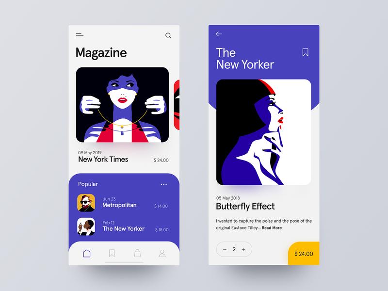 Magazine App design store mobile ui ui ux clean ui design colors ios illustration e-commerce product application magazine user interface ux ui mobile app design app