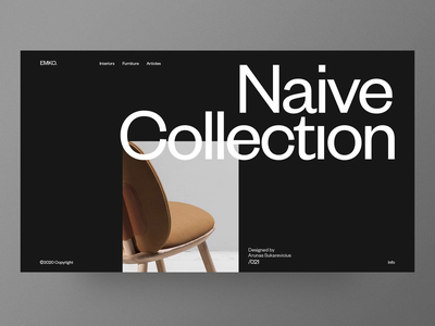 Emko - Interiors/Furniture website chair dark landing architecture minimal layout typography web design web furniture ux ui interface concept interior