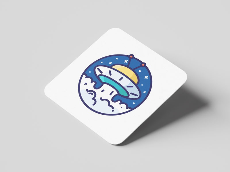 Ufo with MBE illustration design ui