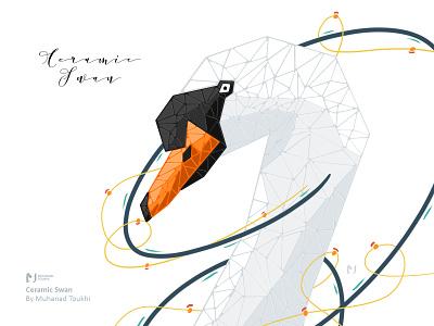 Ceramic Swan drawing lake nature vector ipadpro ipad procreateapp procreate illustraion ceramic white swan