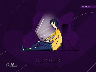 In The Dark procreate light sketch purple dark laptop design illustration deviser
