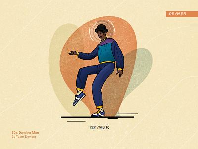 80's Dancing Man history music color 80s style dance illustration design deviser 80s