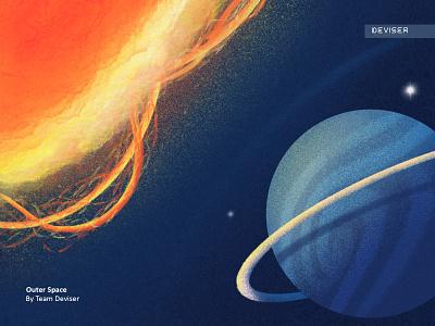 Outer Space lighting procreate dark uranus planet sun space design illustration deviser