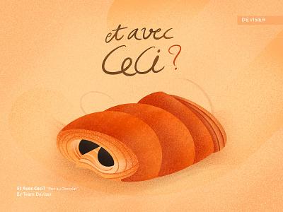 Et Avec Ceci? procreate et avec ceci chocolate pain french sketch food illustration design deviser