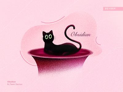 Obsidian black cute cat typography french sketch design illustration deviser obsidian