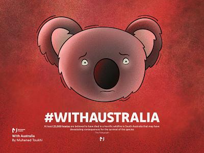 With Australia hashtag burning fire koala australia illustration