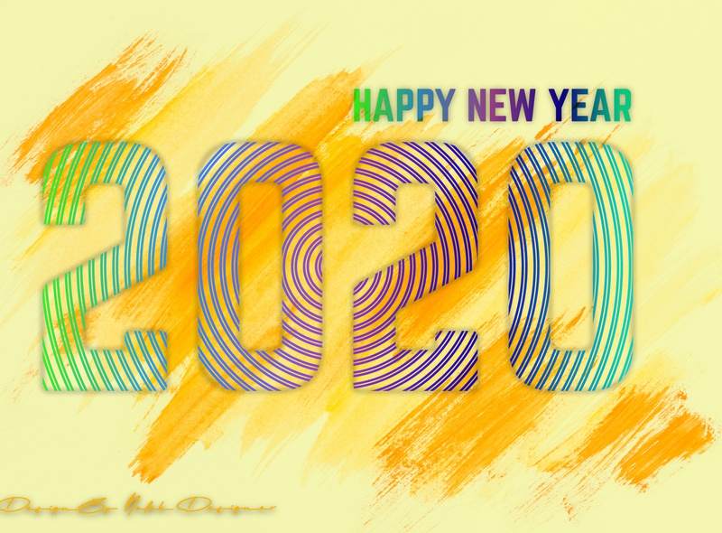 Happy New Year 2020 neon dribbble graphic design clean color design typography new love the year 2020 gredient line art new year card creative design illustration art new year 2020 new year eve