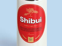 A close up of the Shibui Golden Lager Beer label