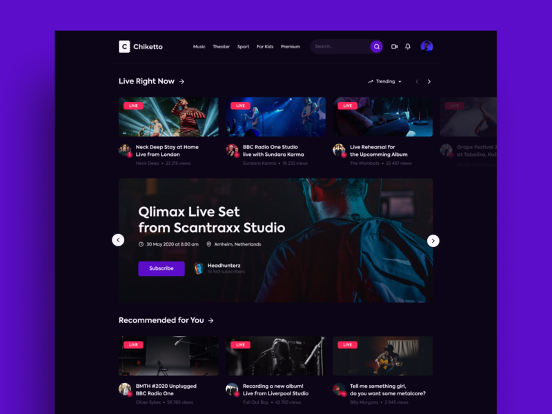 Chiketto - Live Streaming Platform | Dark Concept ux product design apple branding events app music ui webdesign design