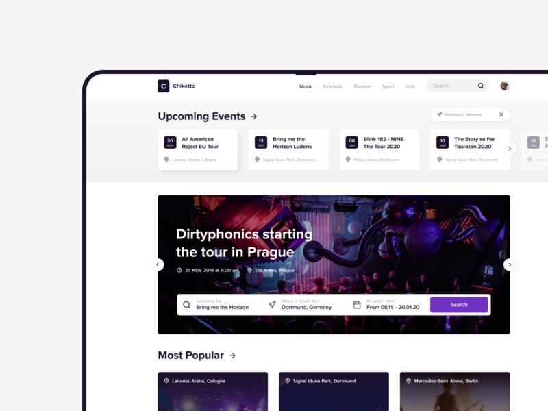 Chiketto - Ticketportal | Concept ui music web app events ticket booking branding webdesign design
