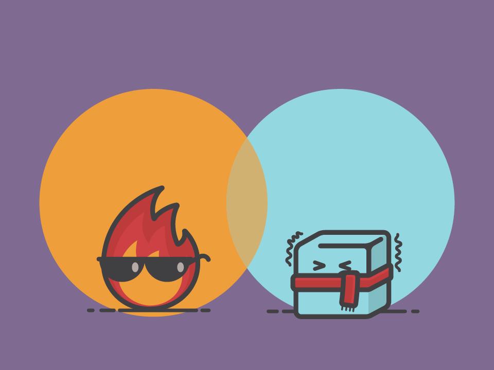 Hot N Cold cartoon illustration comic cute scarf icecube ice cold sunglasses fire hot