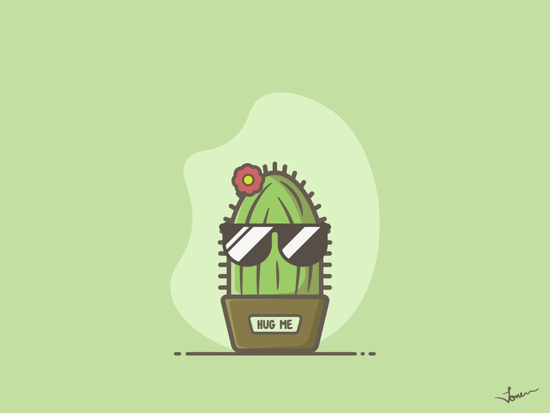 Cactus flower cartoon character cartoon illustration cute hug cactus