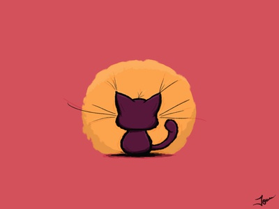 Waiting kitten cartoon cute illustraion kitty illustration kitten kitty cat