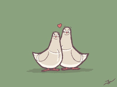 Lovey dovey drawing cute cartoon illustration heart doves dove lovey love