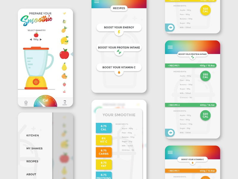 Smoothie App design ux design uxdesign ux  ui ui  ux uiux uxui user interface ux ui design uidesign ui application app design app