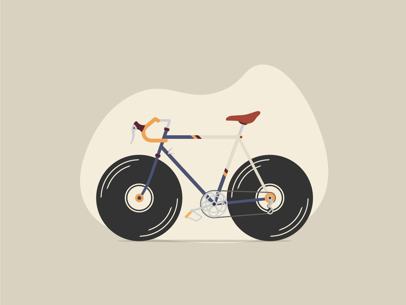 Bicycle with vinyl disc wheels wheels wheel bicycle vintage vinyl design illustration vector
