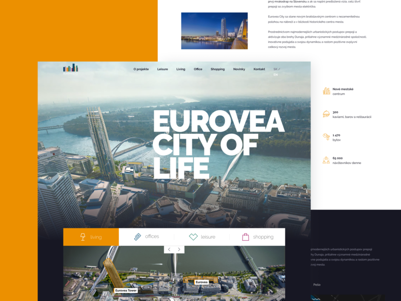 Eurovea City shopping office architecture website city colors real estate development layouts