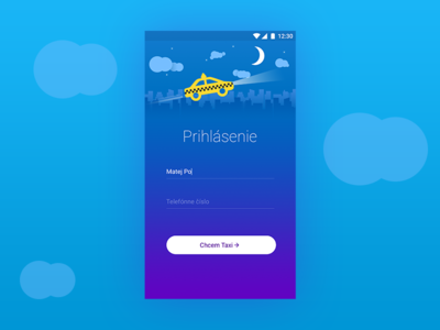 Login Screen for Taxi App ui app mobile design material android blue taxi signin screen login