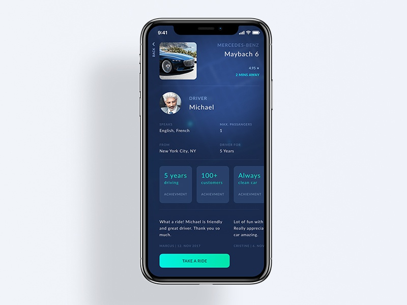 Hoke - Luxury Taxi x layout detail iphonex car luxury tax ux ui ios iphone app